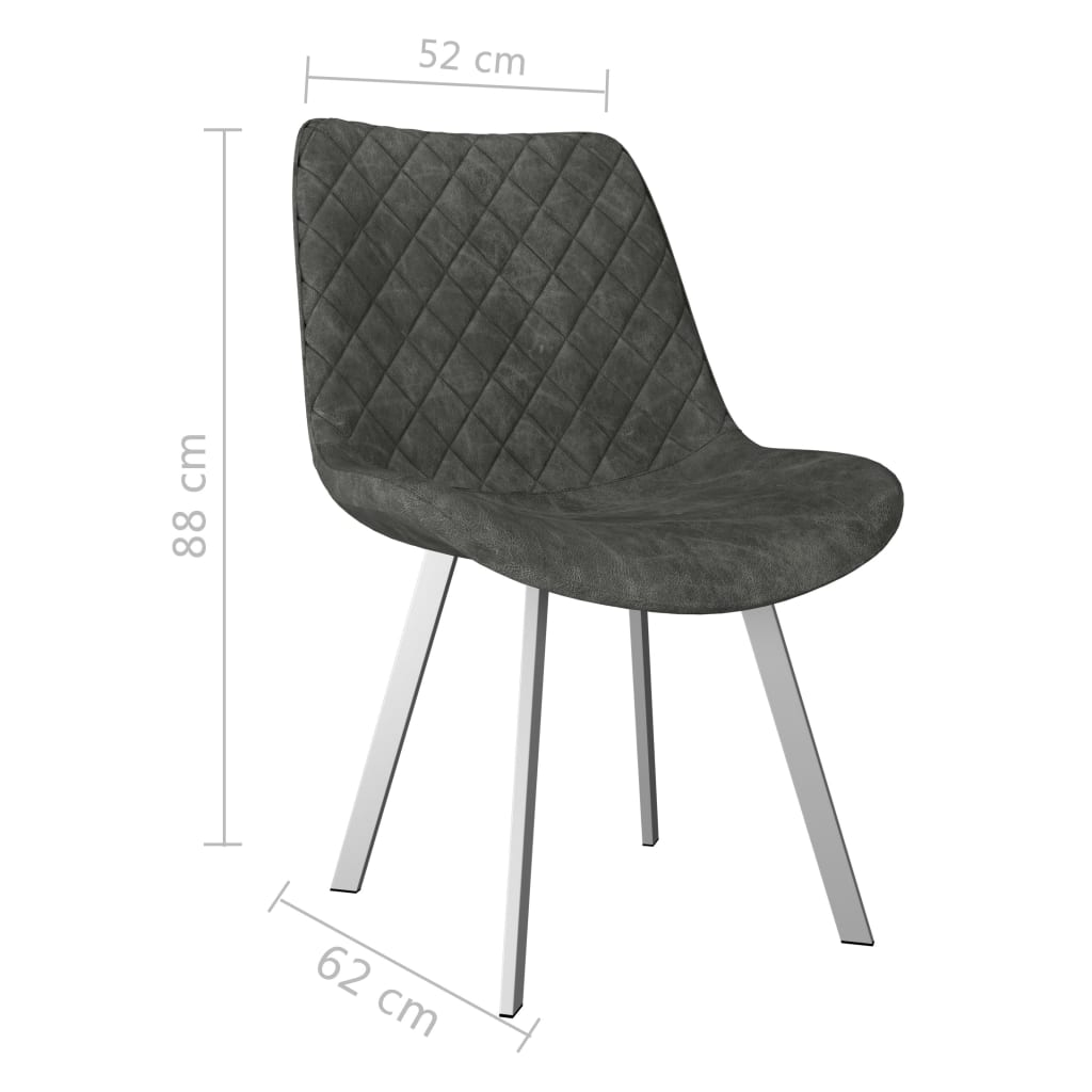 Dining Chairs 2 pcs Grey Faux Suede Leather 7
