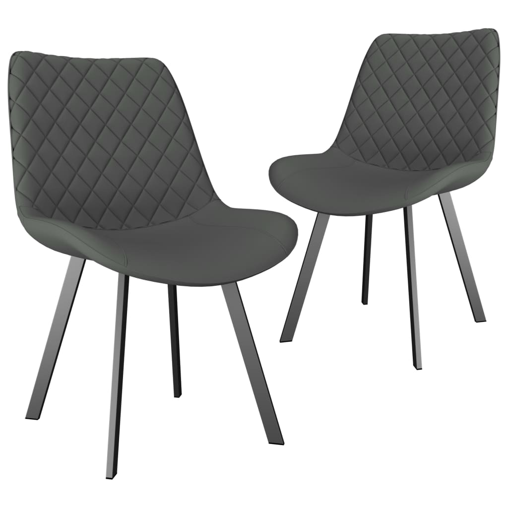 Dining Chairs 2 pcs Light Grey Faux Leather 1