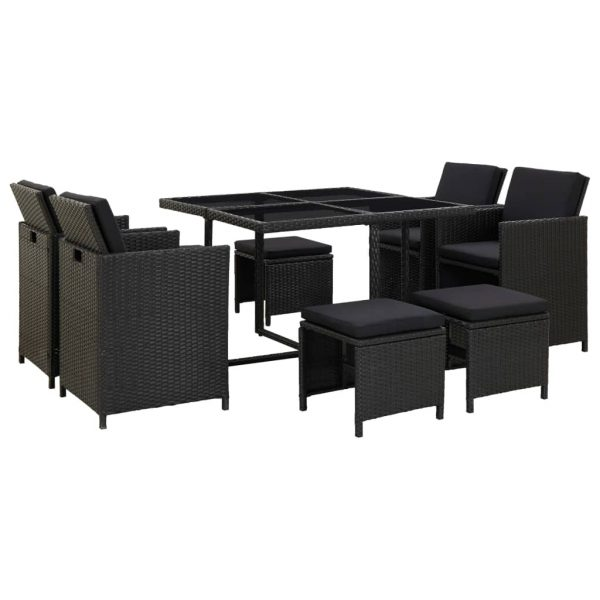 9 Piece Outdoor Dining Set with Cushions Poly Rattan Black 1