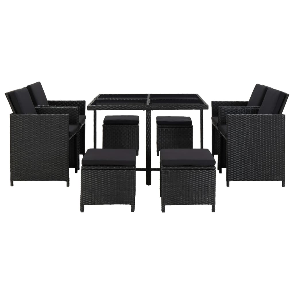 9 Piece Outdoor Dining Set with Cushions Poly Rattan Black 2