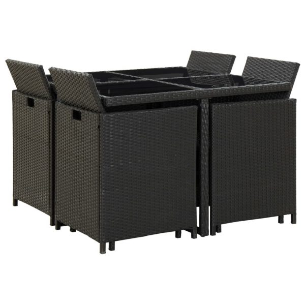 9 Piece Outdoor Dining Set with Cushions Poly Rattan Black 3