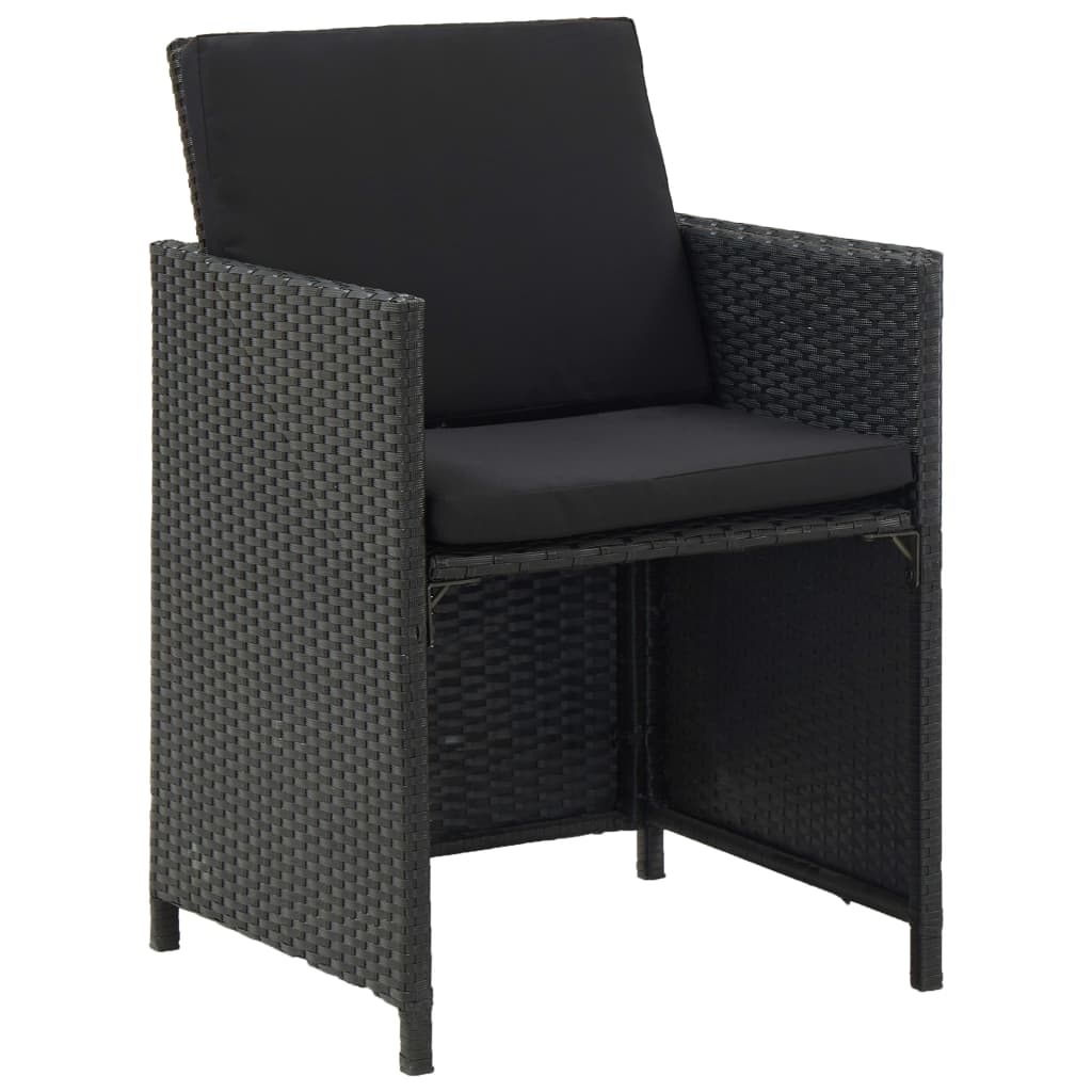 9 Piece Outdoor Dining Set with Cushions Poly Rattan Black 5