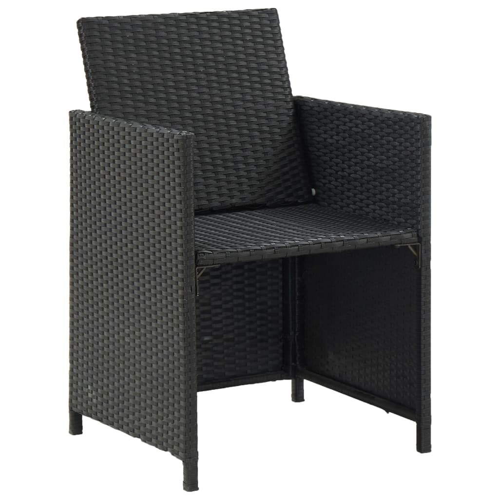 9 Piece Outdoor Dining Set with Cushions Poly Rattan Black 6