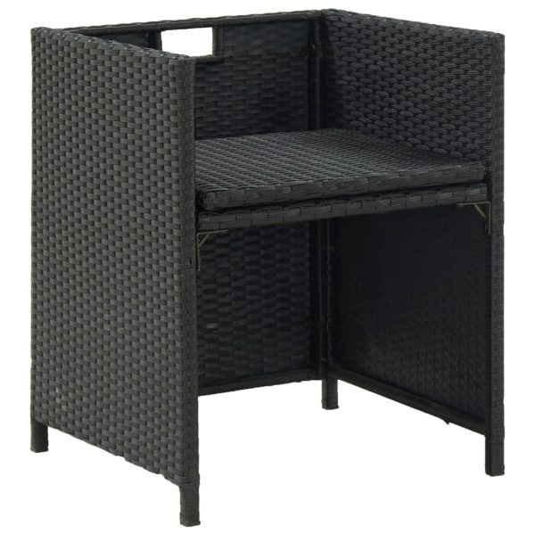 9 Piece Outdoor Dining Set with Cushions Poly Rattan Black 10