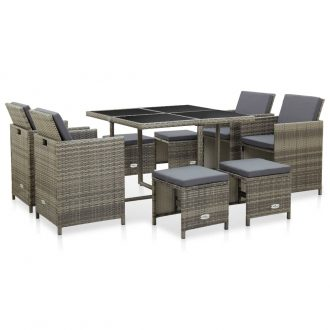 9 Piece Outdoor Dining Set with Cushions Poly Rattan Grey 1