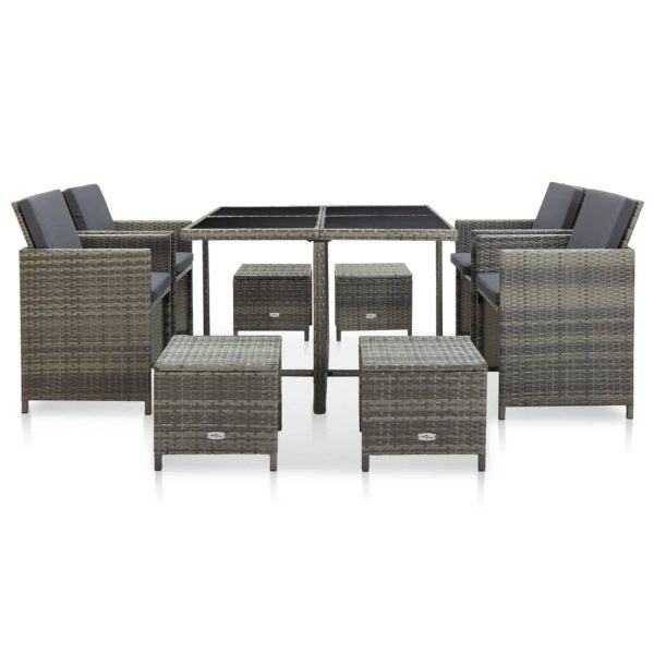 9 Piece Outdoor Dining Set with Cushions Poly Rattan Grey 2