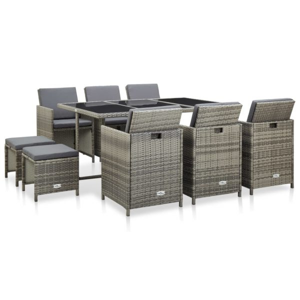 11 Piece Outdoor Dining Set with Cushions Poly Rattan Grey 1