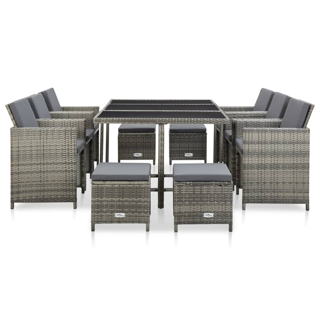 11 Piece Outdoor Dining Set with Cushions Poly Rattan Grey 2
