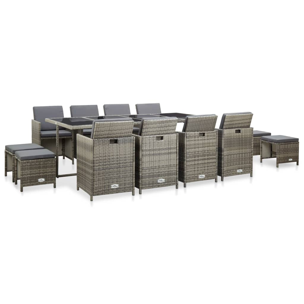 13 Piece Outdoor Dining Set with Cushions Poly Rattan Grey 1