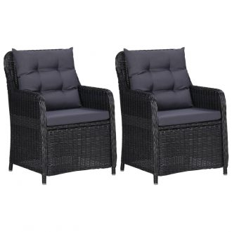 Garden Chairs 2 pcs with Cushions Poly Rattan Black 1