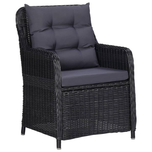 Garden Chairs 2 pcs with Cushions Poly Rattan Black 2