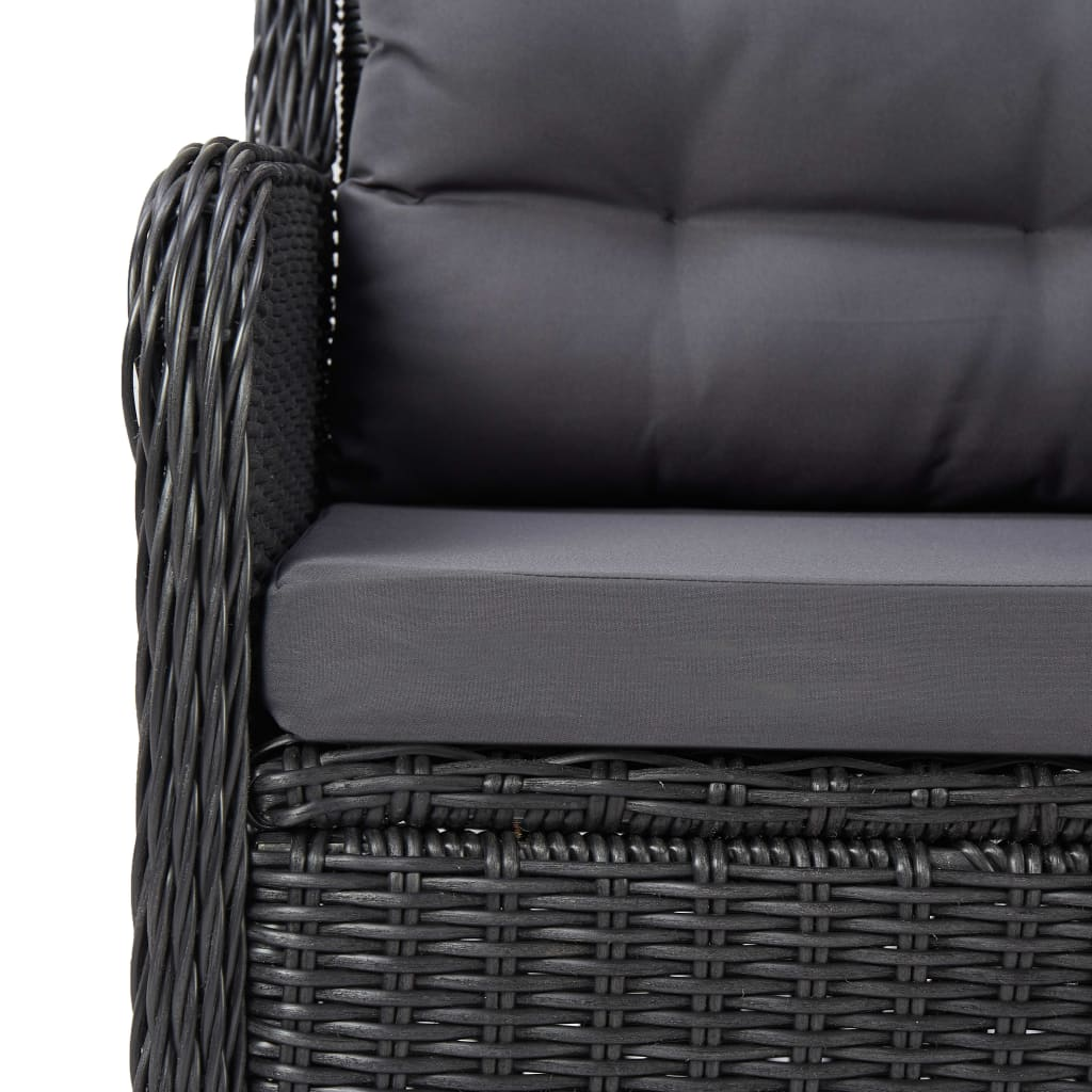 Garden Chairs 2 pcs with Cushions Poly Rattan Black 7