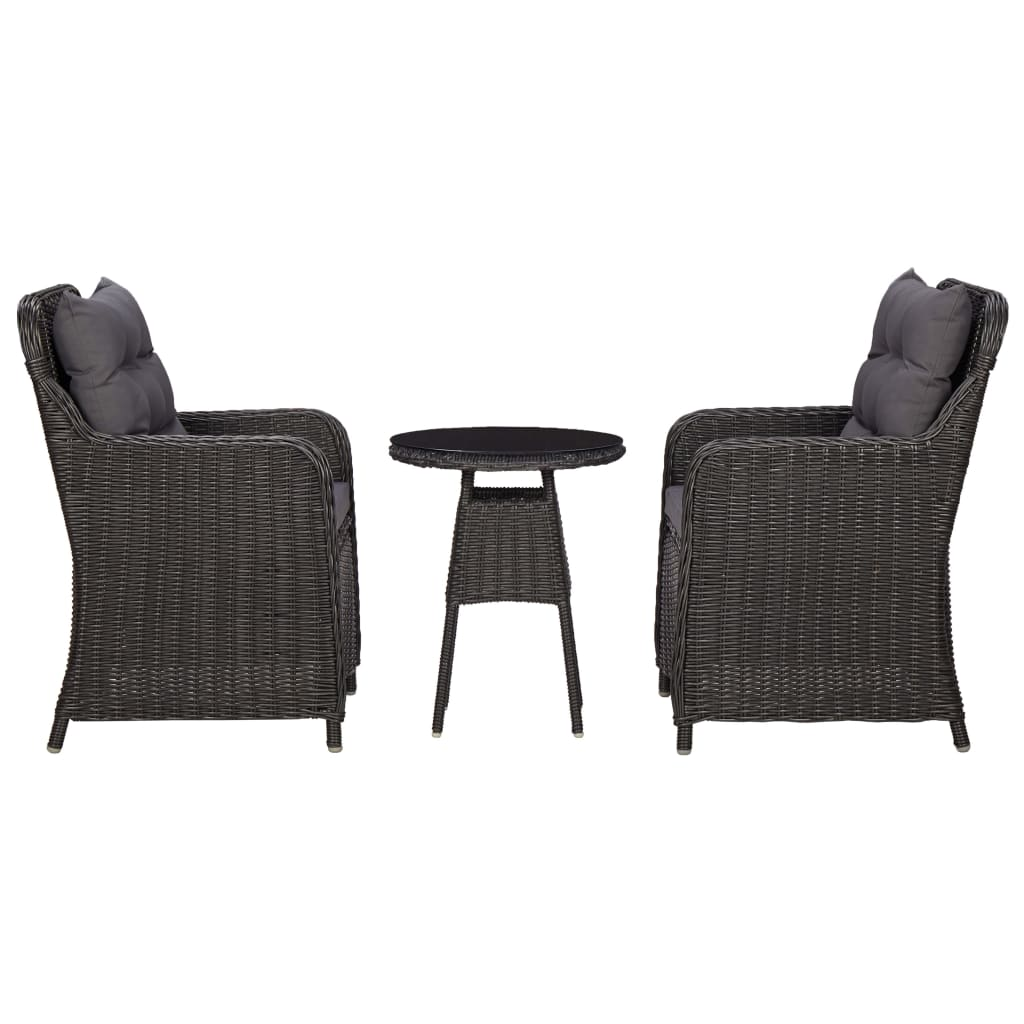 Garden Chairs 2 pcs with Tea Table Poly Rattan Black 1