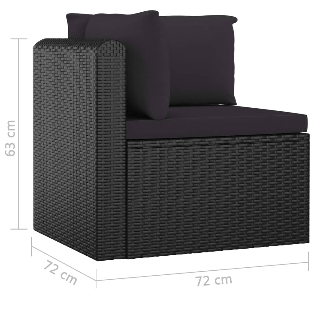 7 Piece Garden Lounge Set with Cushions Poly Rattan Black 8