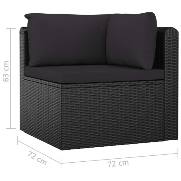 7 Piece Garden Lounge Set with Cushions Poly Rattan Black 9