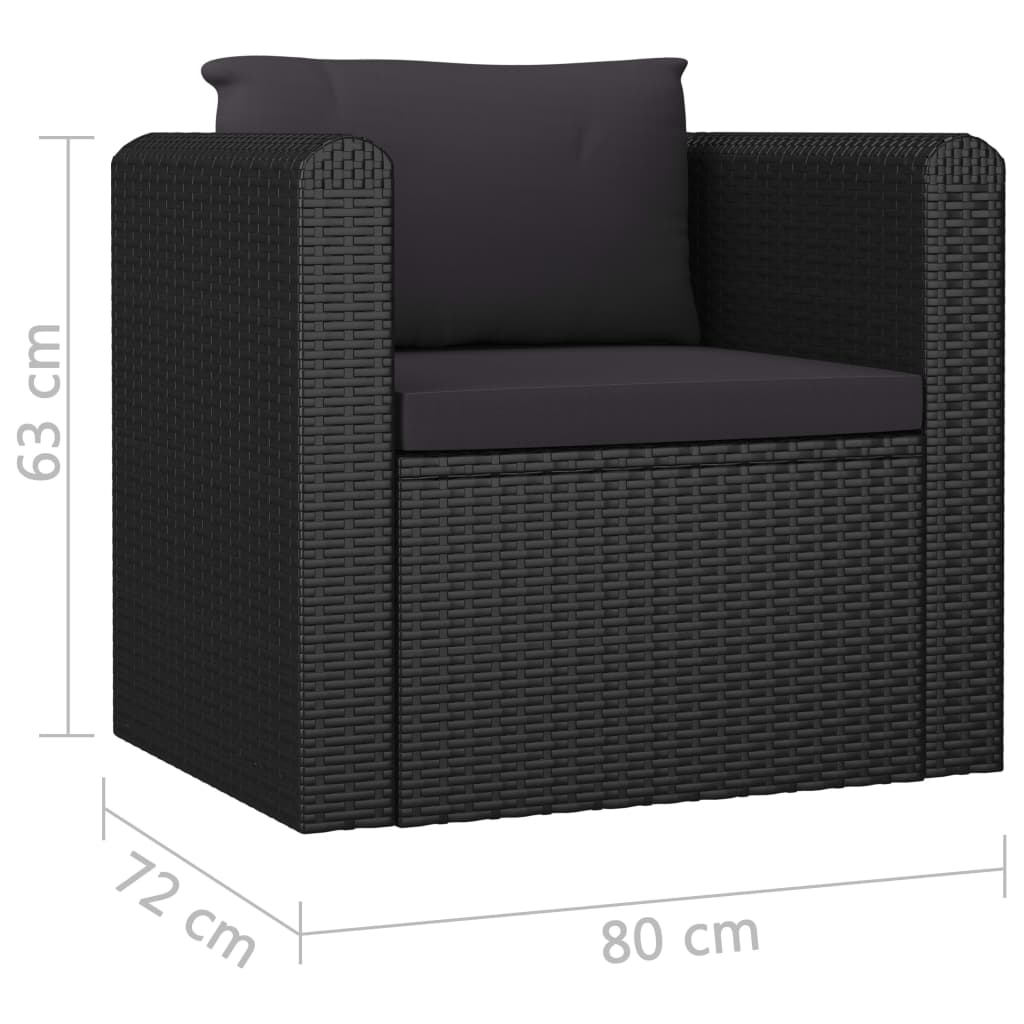 7 Piece Garden Lounge Set with Cushions Poly Rattan Black 11