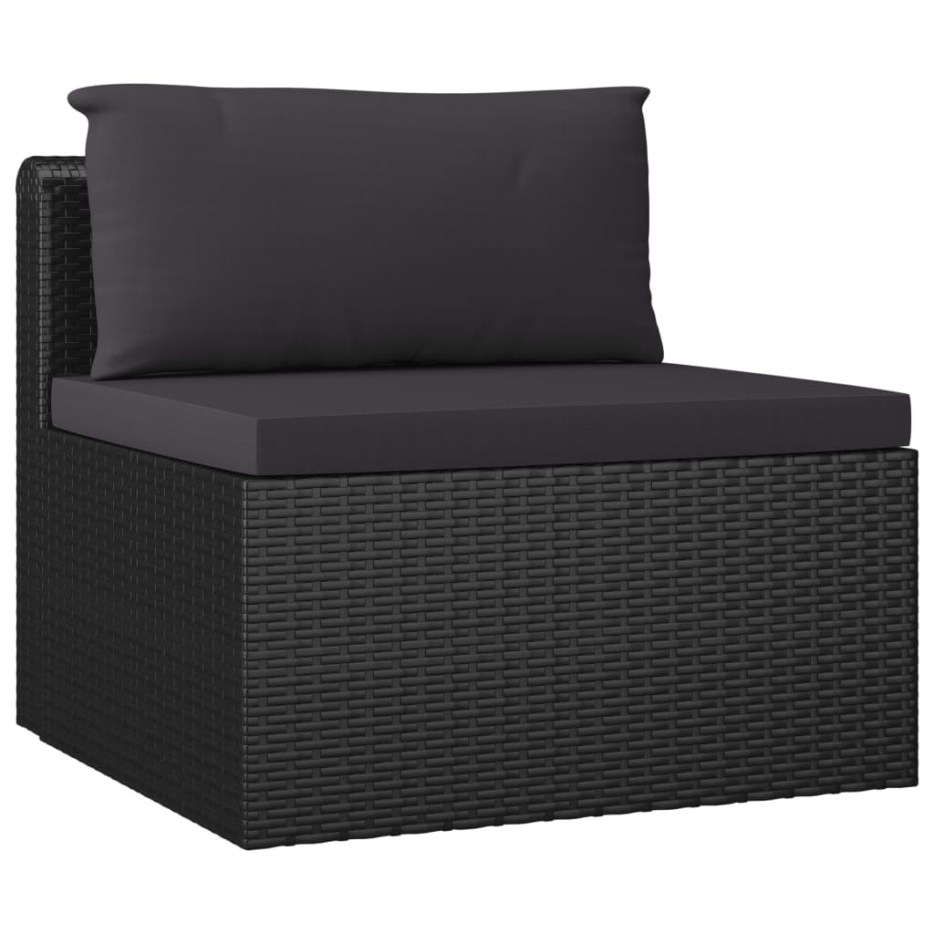 7 Piece Garden Lounge Set with Cushions Poly Rattan Black 6