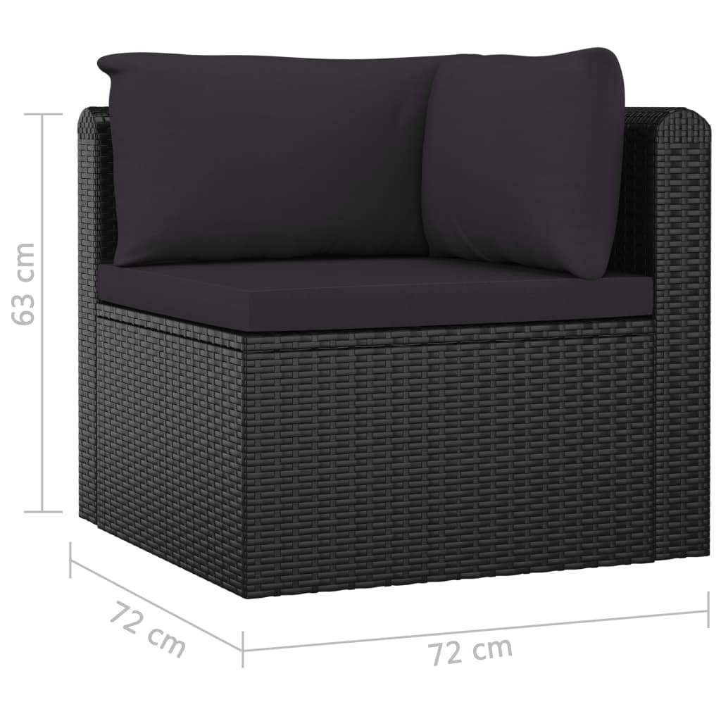 7 Piece Garden Lounge Set with Cushions Poly Rattan Black 10