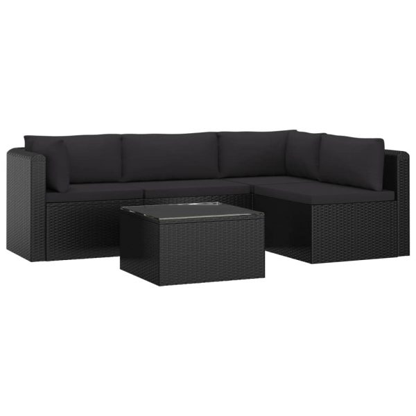 5 Piece Garden Lounge Set with Cushions Poly Rattan Black 2