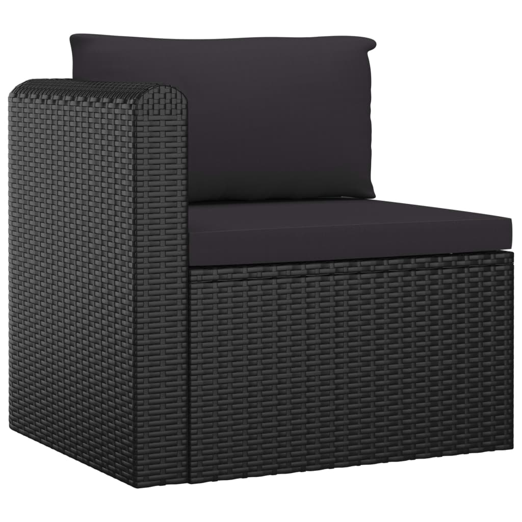 5 Piece Garden Lounge Set with Cushions Poly Rattan Black 4
