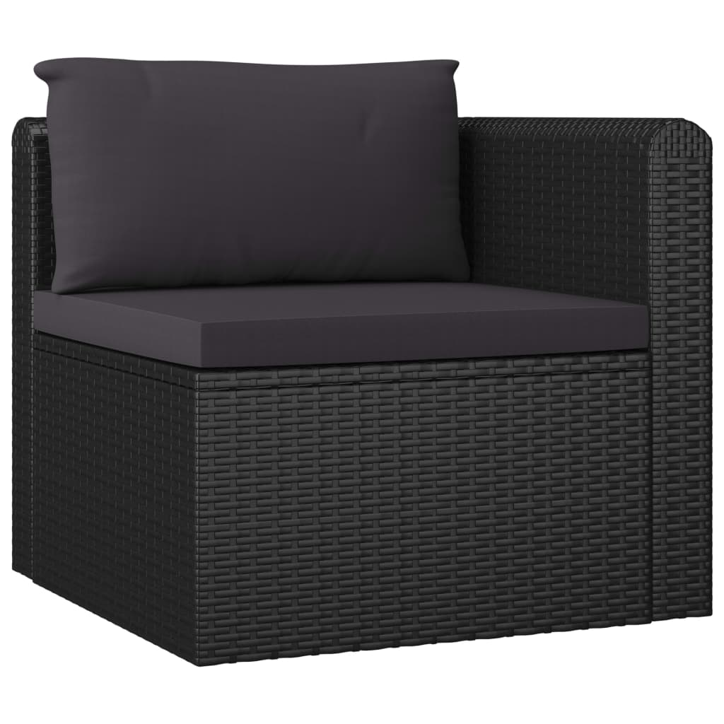 5 Piece Garden Lounge Set with Cushions Poly Rattan Black 5
