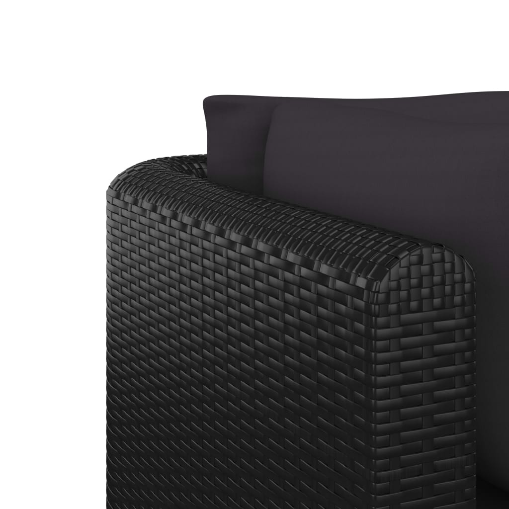 5 Piece Garden Lounge Set with Cushions Poly Rattan Black 8