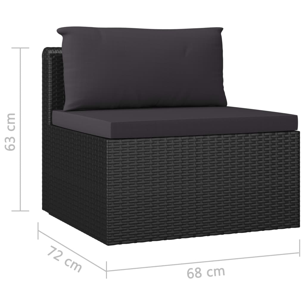 5 Piece Garden Lounge Set with Cushions Poly Rattan Black 11