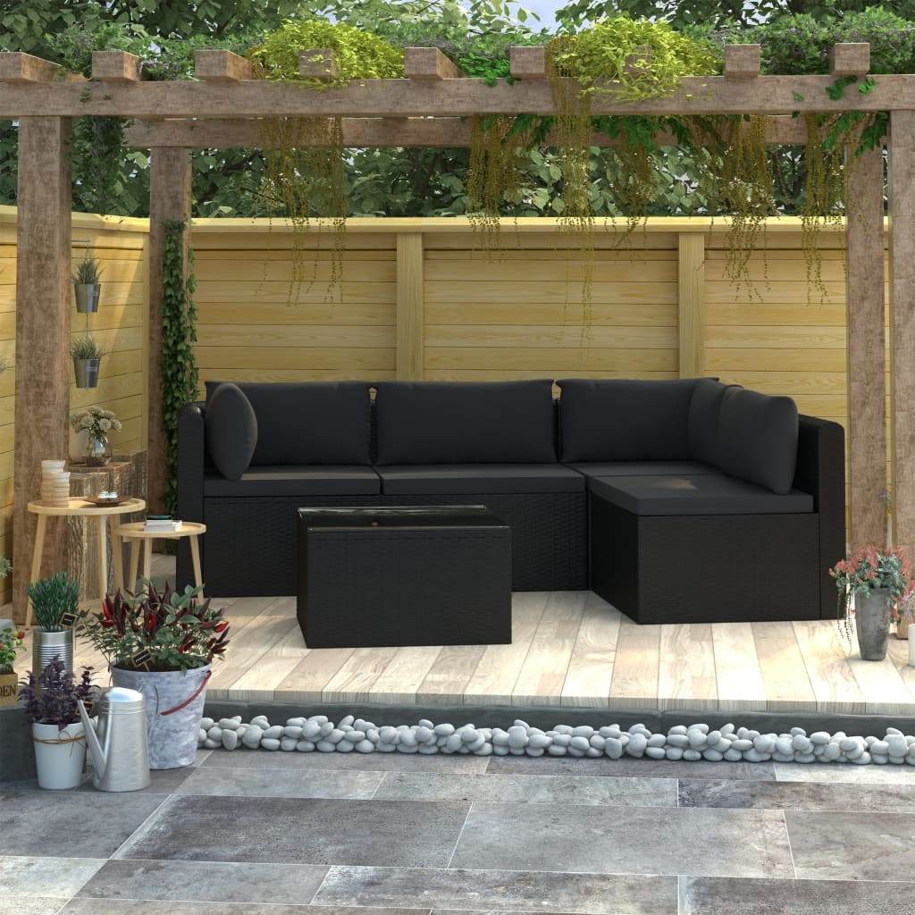 5 Piece Garden Lounge Set with Cushions Poly Rattan Black 1