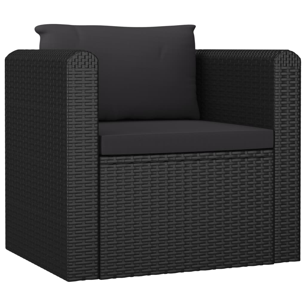 Single Sofa with Cushions Poly Rattan Black 1