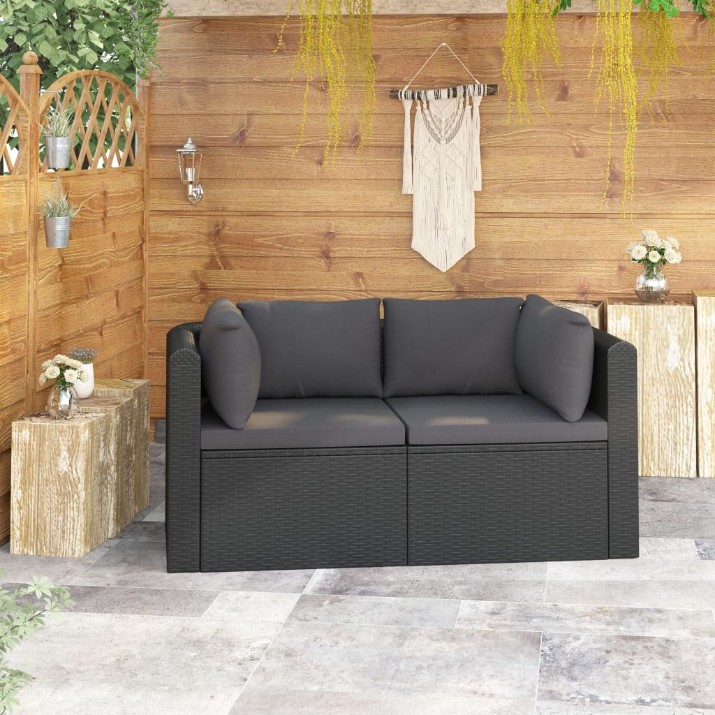 2 Piece Garden Sofa Set with Cushions Poly Rattan Black 1