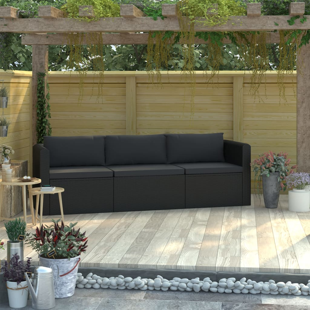 3 Piece Garden Sofa Set with Cushions Poly Rattan Black 1