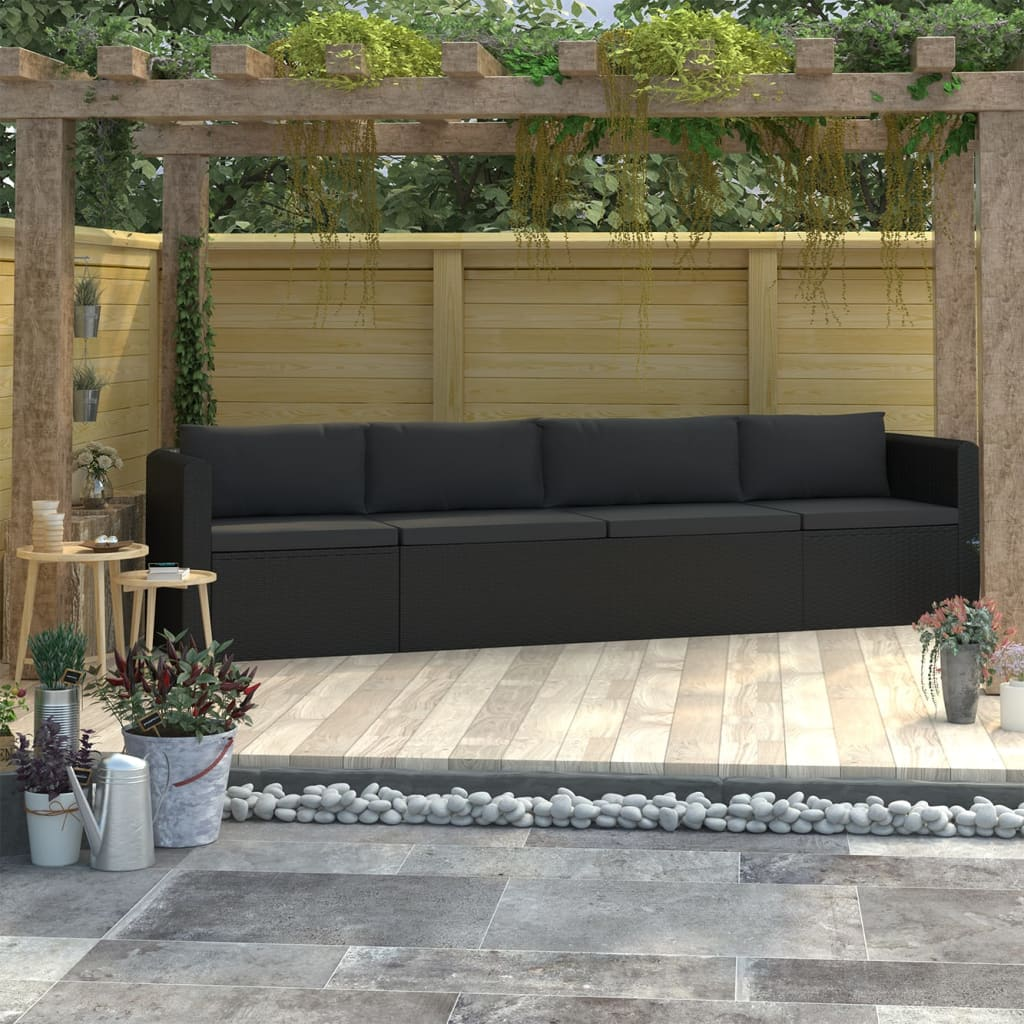 4 Piece Garden Sofa Set with Cushions Poly Rattan Black