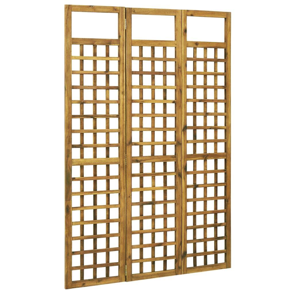 3-Panel Room Divider/Trellis Solid Acacia Wood 120×170 cm 1