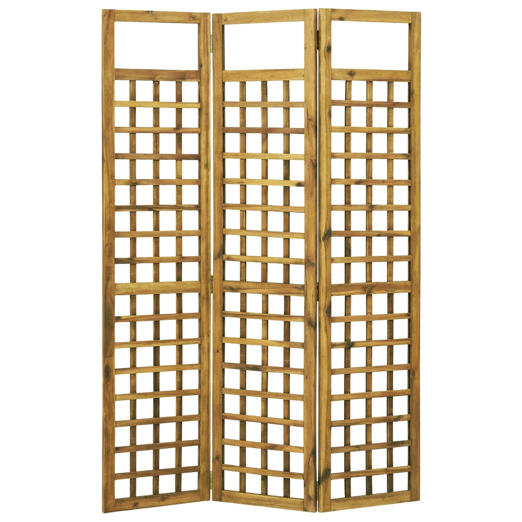 3-Panel Room Divider/Trellis Solid Acacia Wood 120×170 cm 2