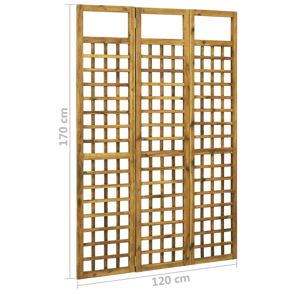 3-Panel Room Divider/Trellis Solid Acacia Wood 120×170 cm 7