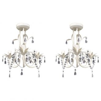 Crystal Pendant Ceiling Lamp Chandeliers 2 pcs Elegant White 1