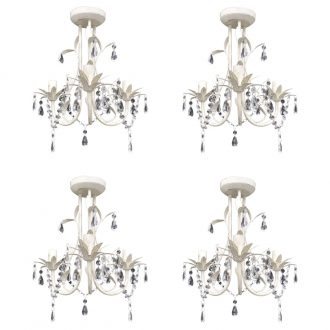 Crystal Pendant Ceiling Lamp Chandeliers 4 pcs Elegant White 1