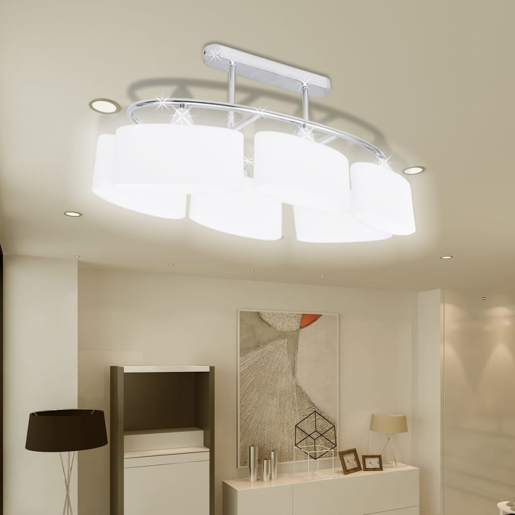 Ceiling Lamp with Ellipsoid Glass Shades 2 pcs E14 1