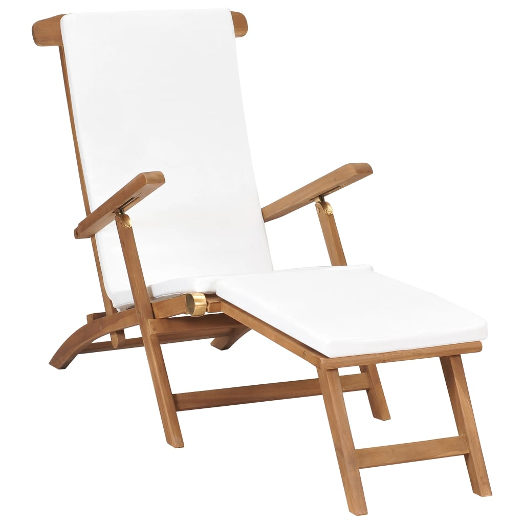 Deck Chair with Cushion Cream White Solid Teak Wood 1
