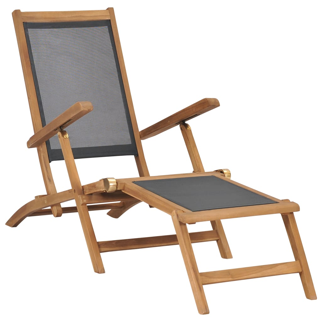 Deck Chair with Footrest Solid Teak Wood Black 1