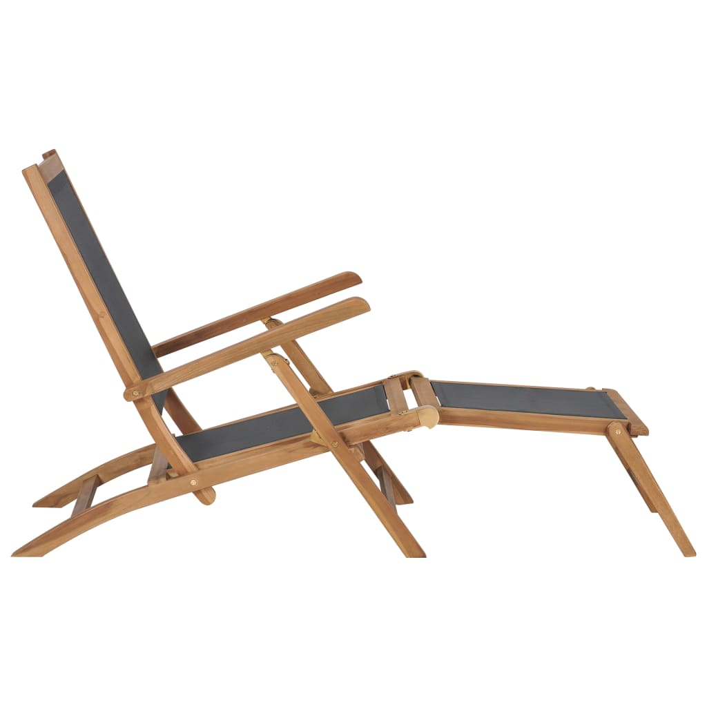 Deck Chair with Footrest Solid Teak Wood Black 2