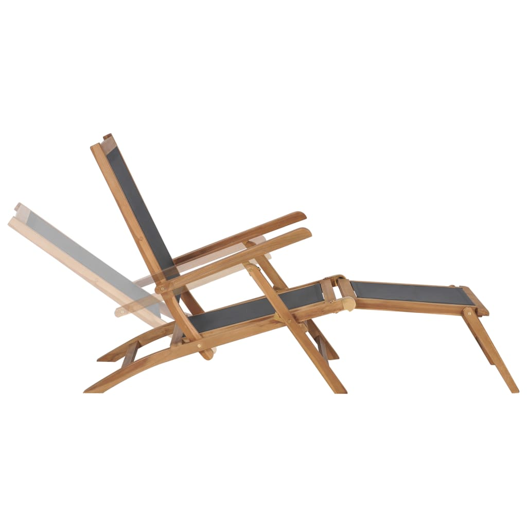 Deck Chair with Footrest Solid Teak Wood Black 3