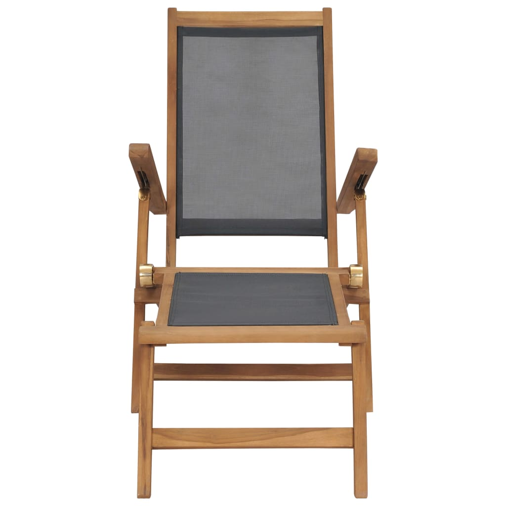 Deck Chair with Footrest Solid Teak Wood Black 4