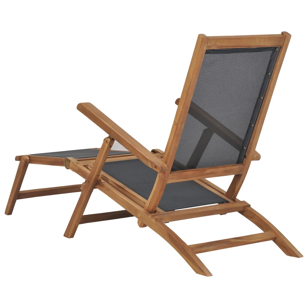 Deck Chair with Footrest Solid Teak Wood Black 5