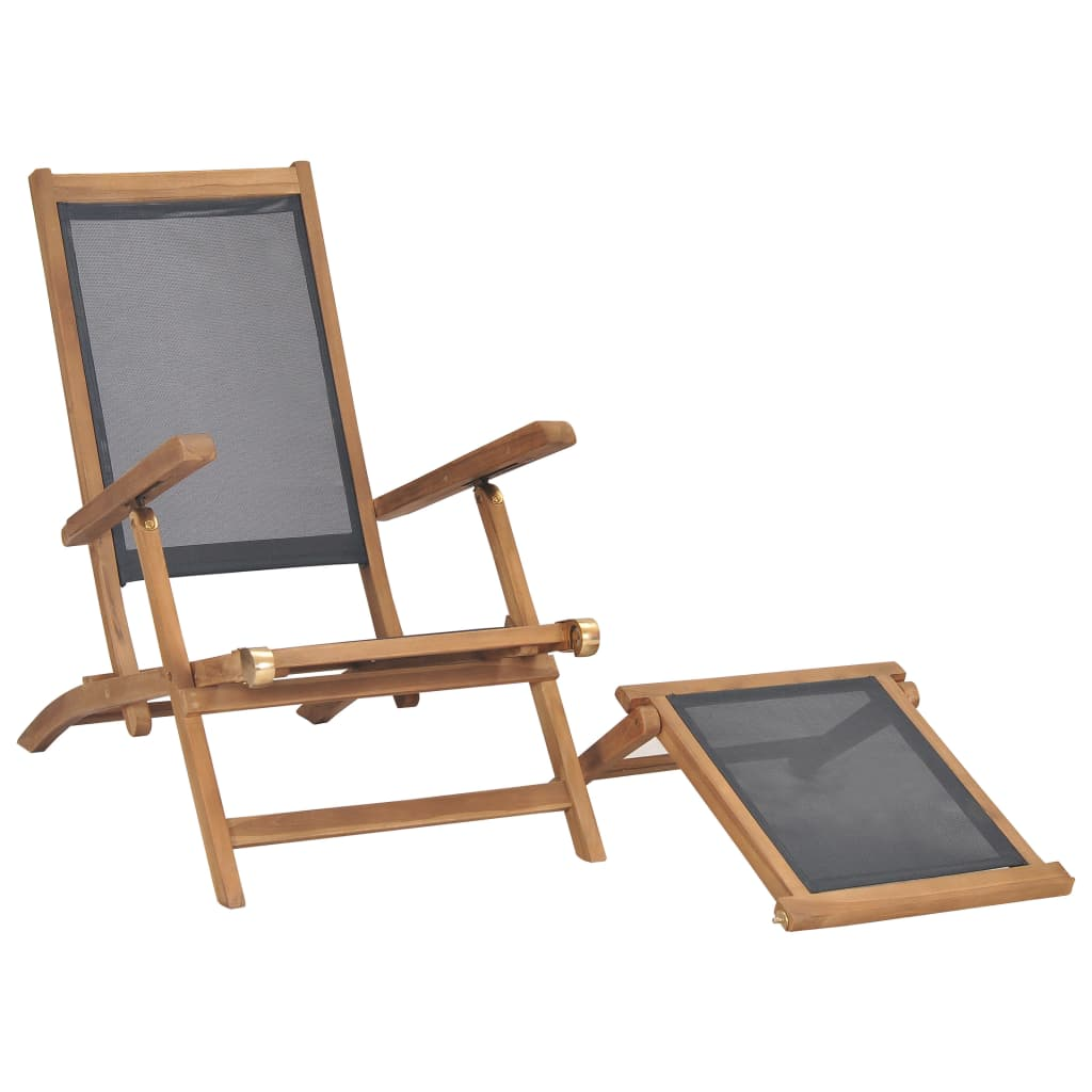 Deck Chair with Footrest Solid Teak Wood Black 6