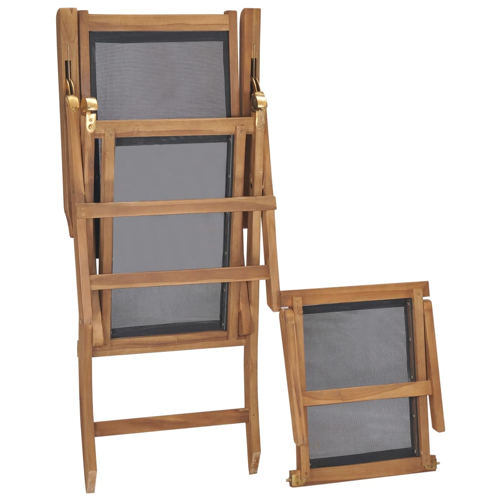 Deck Chair with Footrest Solid Teak Wood Black 7