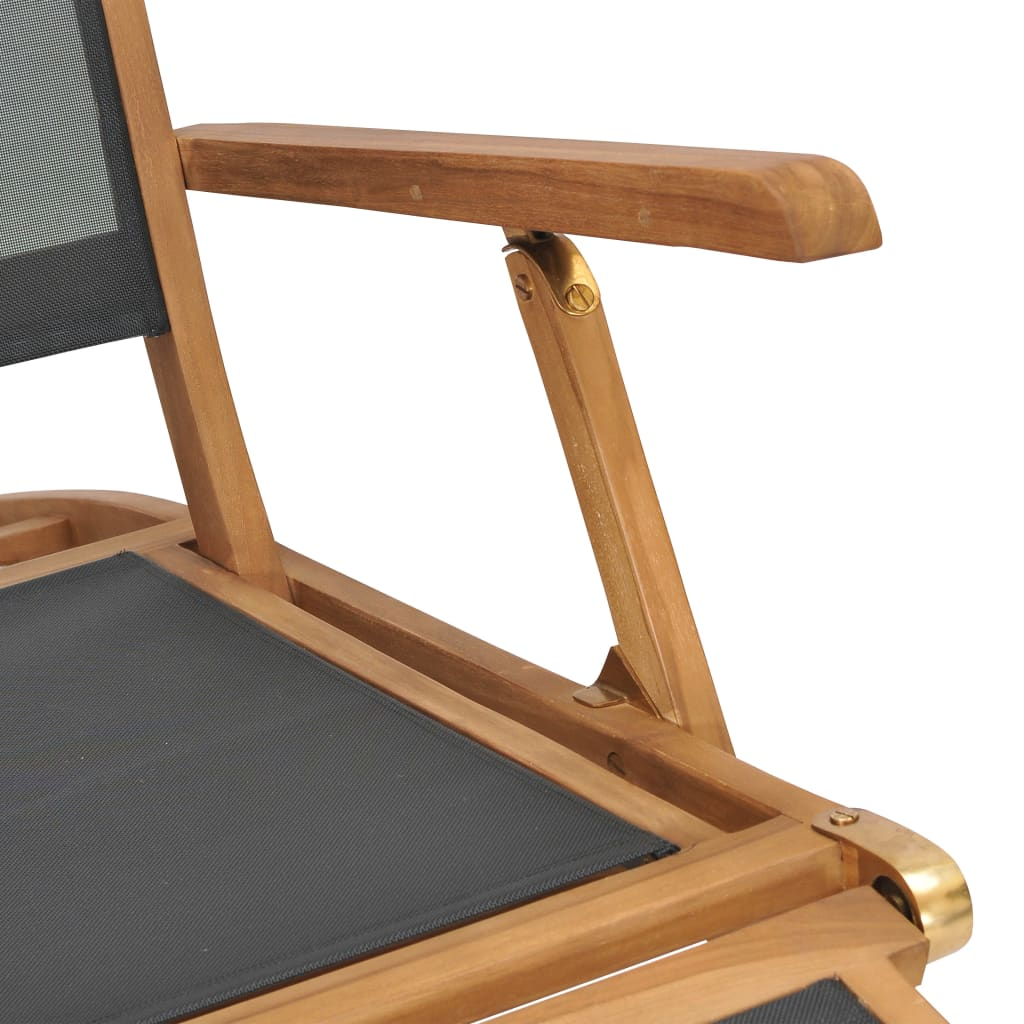Deck Chair with Footrest Solid Teak Wood Black 8