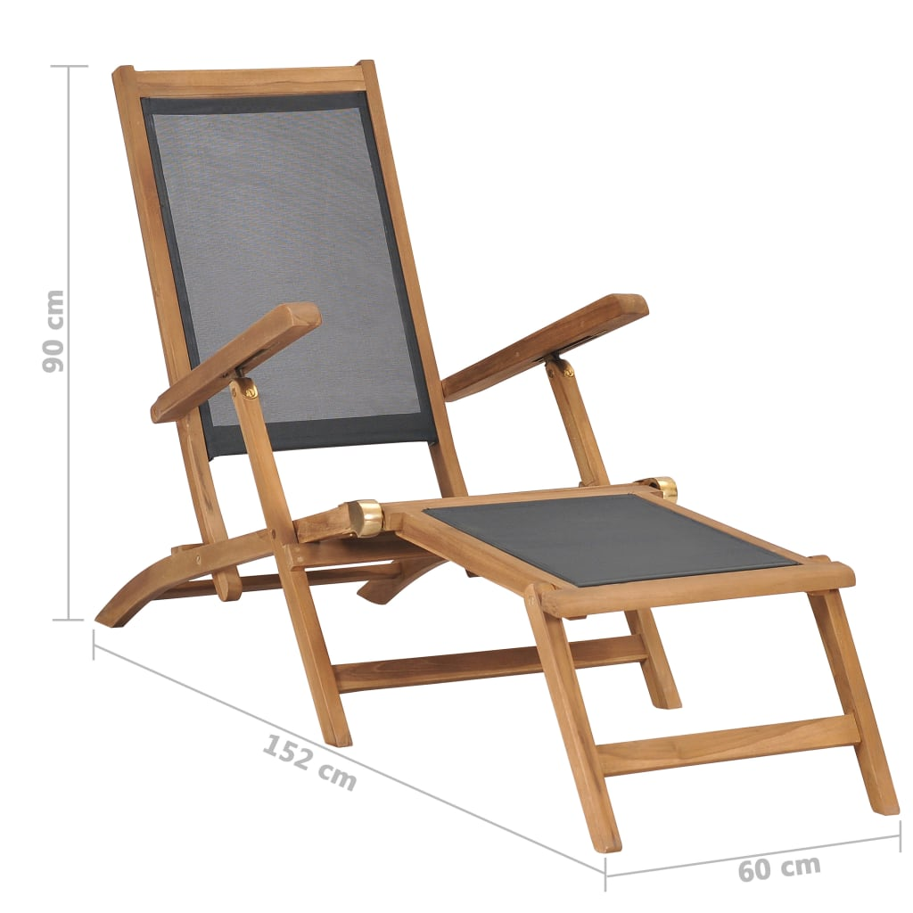 Deck Chair with Footrest Solid Teak Wood Black 9
