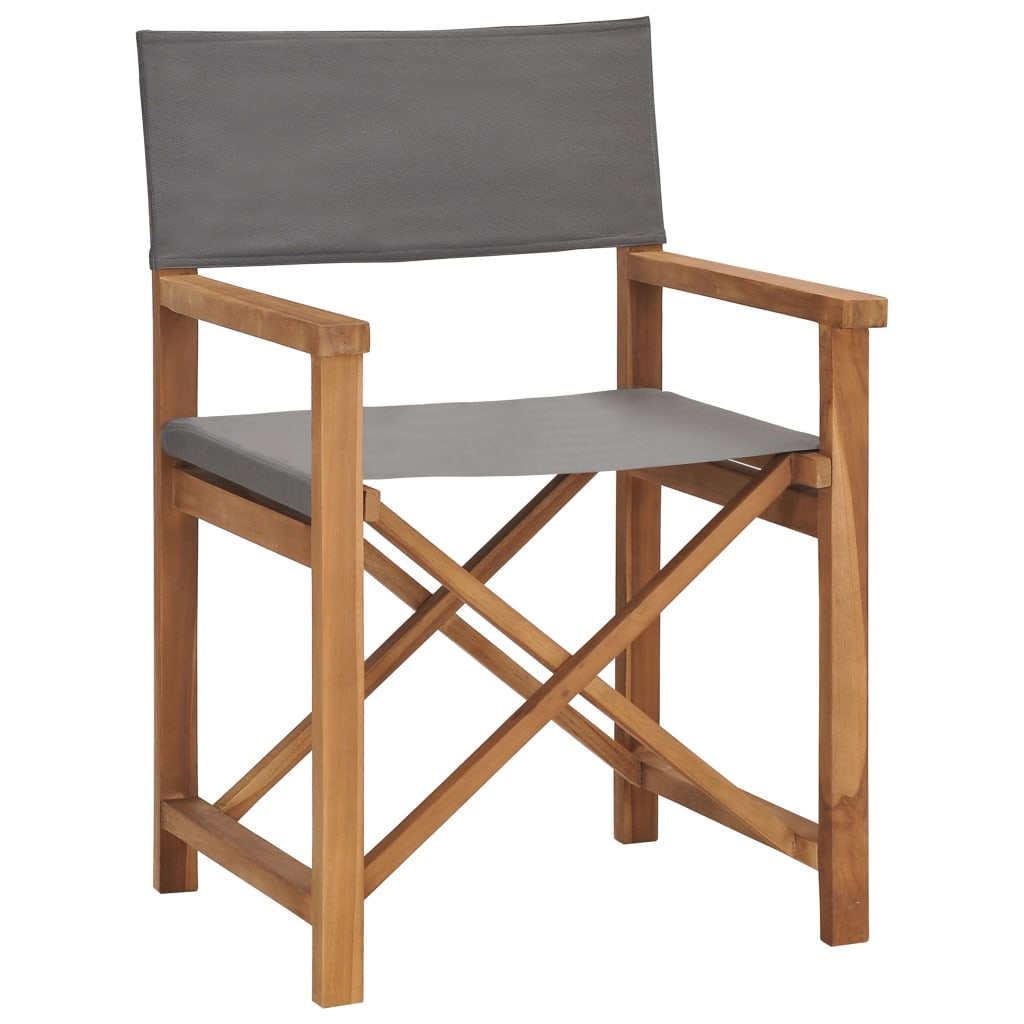 Director's Chair Solid Teak Wood Grey 1