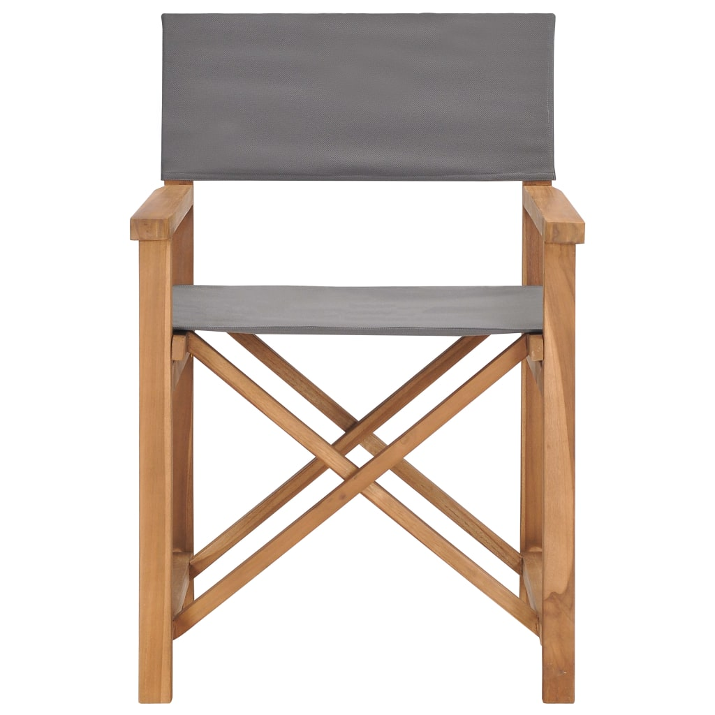 Director's Chair Solid Teak Wood Grey 2